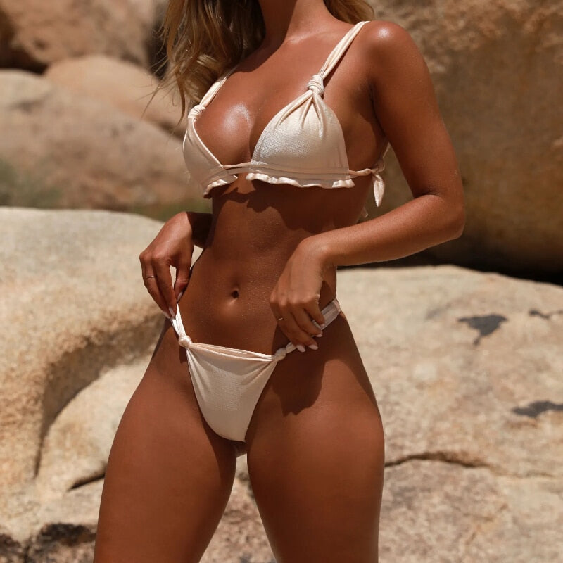 Sexy Swimwear Women Bandage Bikini Set