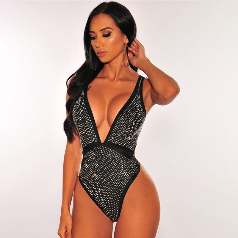 Sexy Bodysuit Hot Drilling V Neck Backless Bling Bodysuits
