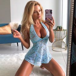 Women sexy lingerie porno Sheer Lace babydoll Night Dress
