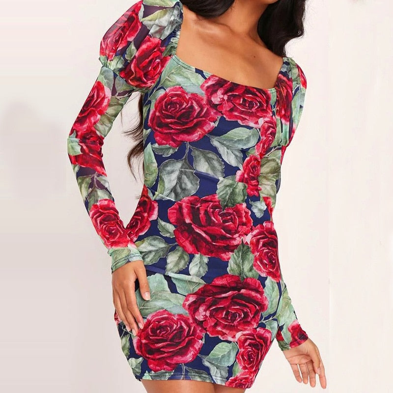 Flora Dresses for Women Square Collar Puff Sleeve Backless Mini Dress