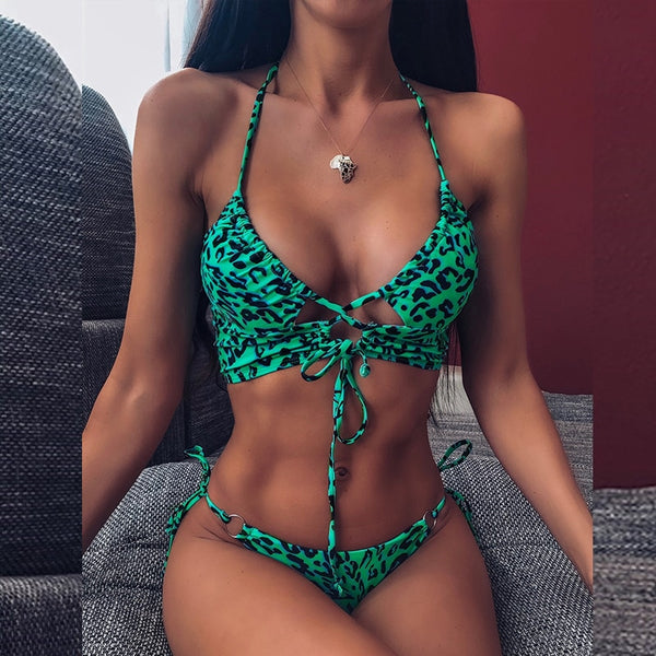 Leopard swimsuit female Sexy string lace up bikini