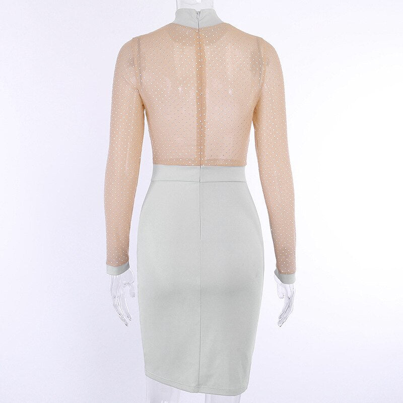 New Autumn Ladies Sexy Gray Mesh Hot Drilling Dress