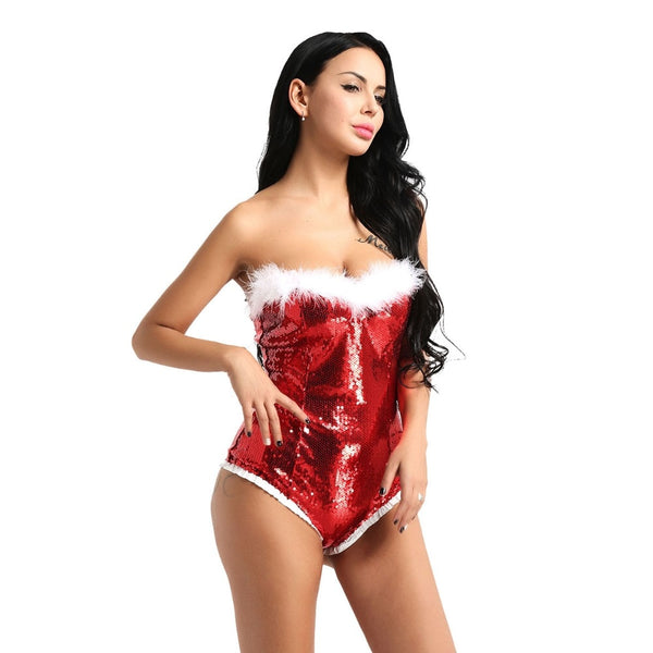 Christmas Women Shiny Sequins Bodysuit Sexy Red One Piece
