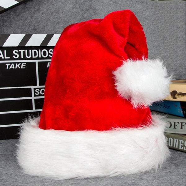 Christmas New Year Red Big Ball Soft Plush Christmas Hat