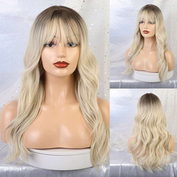Long Synthetic Wavy Wigs With Bang Ombre Blonde Brown Wigs