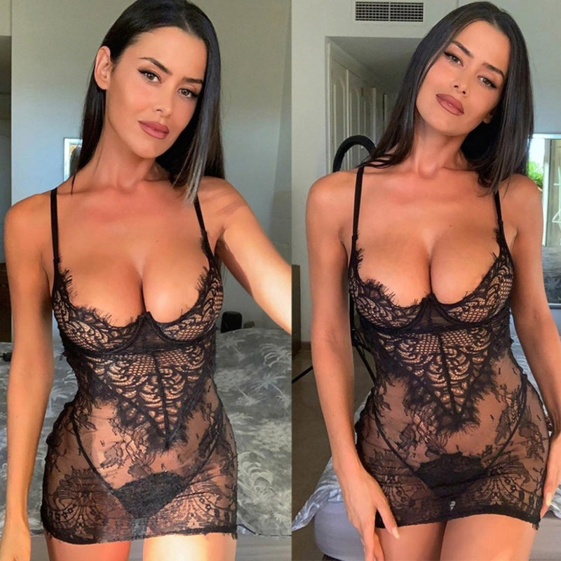 Lace Sexy Lingerie Set For Women,Sexy Dress + Sexy Thong
