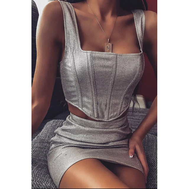 Women Club Outfits Silver Glitter Straped Tank Tops and Mini Skirts Sets