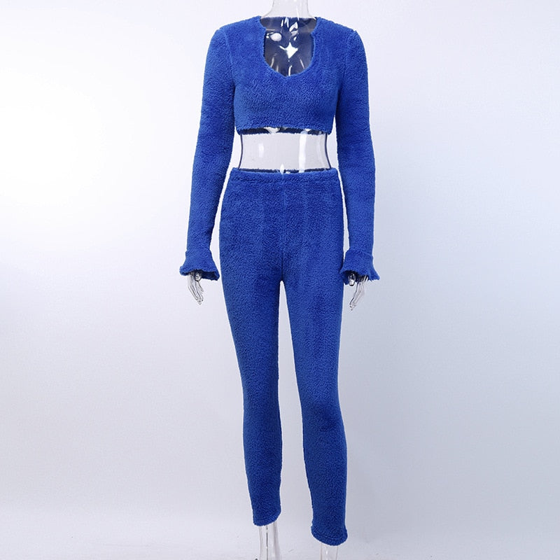 Women Two Piece Tracksuits Fleece Warm Outfit Long Sleeve Crop Top+ Pants