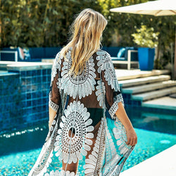 2020 Summer Black Sunflower Crochet Bikini Cover Up