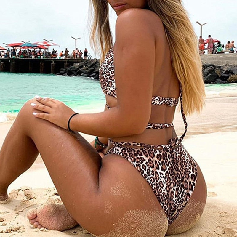 2020 Sexy female Lace up string one piece swimsuit