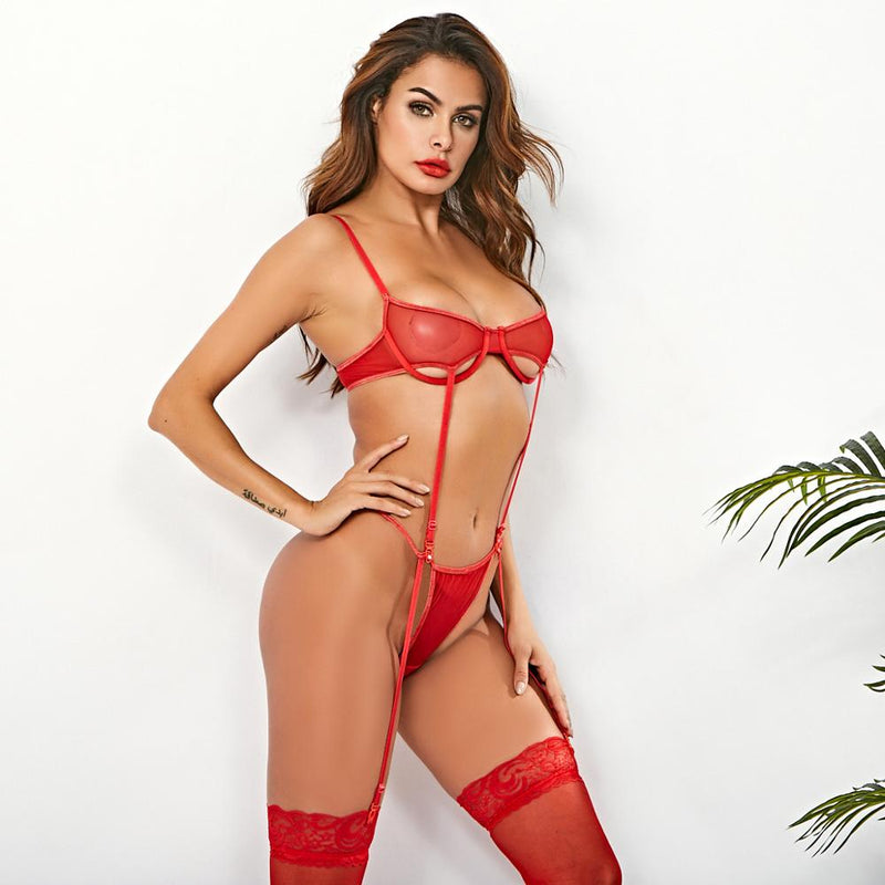 2020 New year Sexy 2 Piece Set Hollow Out Lace See Through Lingeries