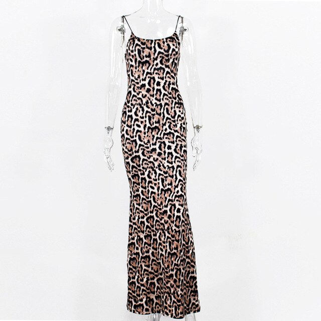 Sexy Leopard Sleeveless Long Straps Gown Bodycon Dress