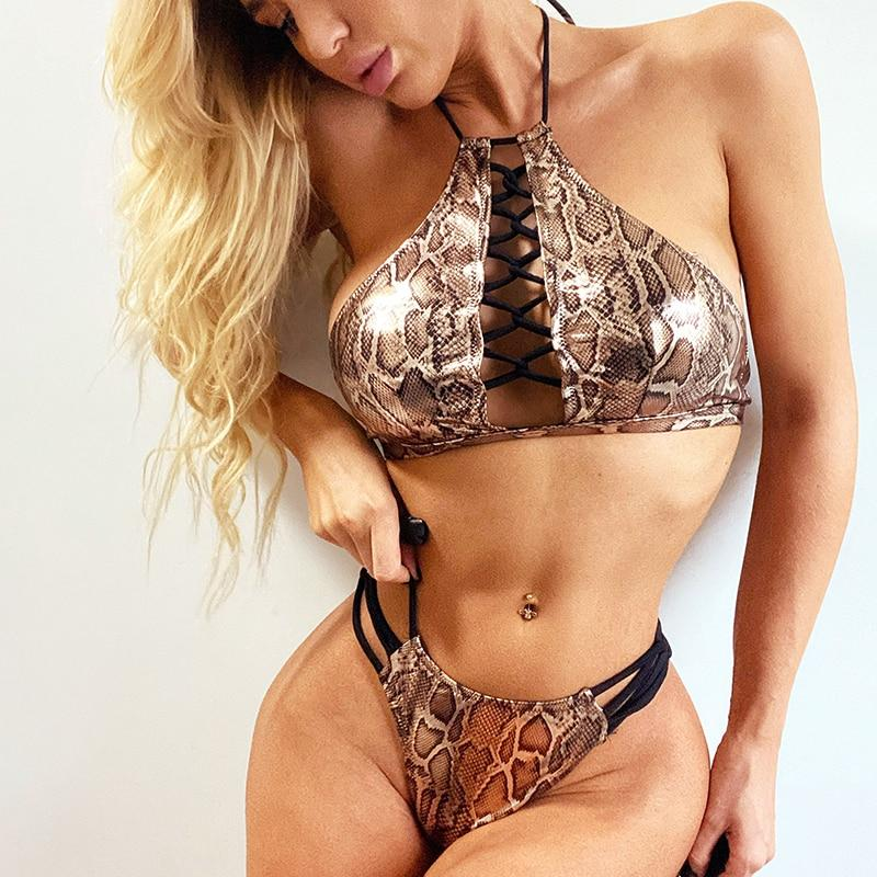 2020 Sexy gold snake swimsuit Lace up one piece