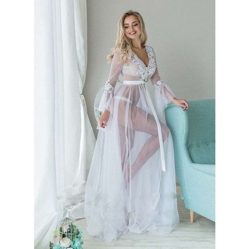 Sexy Women Lingerie Lace Sleepwear deep v-neck white long sleeve Babydoll See Through Ladies Floral Long Dress