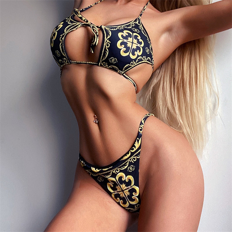 Swimsuit Women Two Piece Thong Bikini Sexy Hollow Out Print Swimwear Biquini