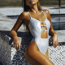 Summer Solid Hollow out Bodysuits High cut  One Piece