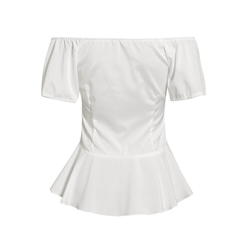 Off shoulder pleated white office blouse shirt