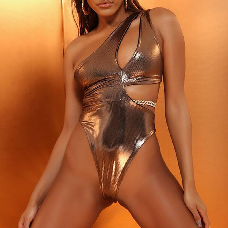 Vintage Gold One Piece Sexy One Shoulder Swimwear New