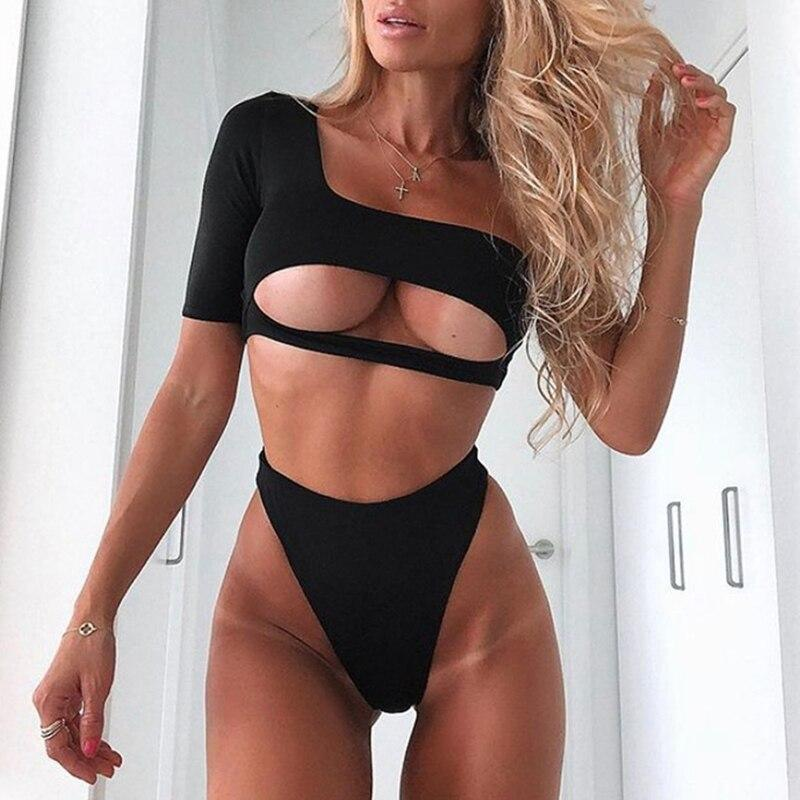 2020 One shoulder sleeve High waist bikinis