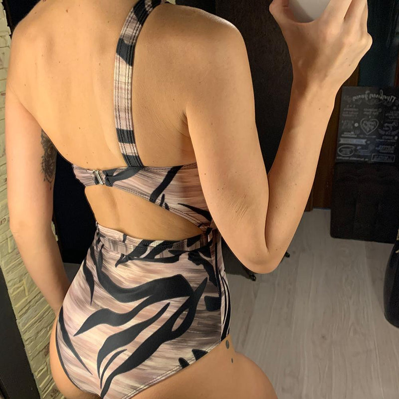 New Sexy 2020 Printed One Shoulder Cut Out One Piece