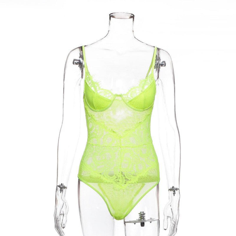 Neon Lace Mesh Elegant Transparent Sexy Summer Bodysuits
