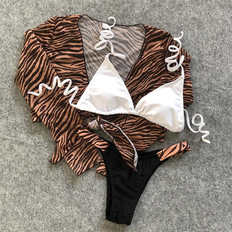 Sexy long sleeve bikinis Leopard print 3 piece swimsuit
