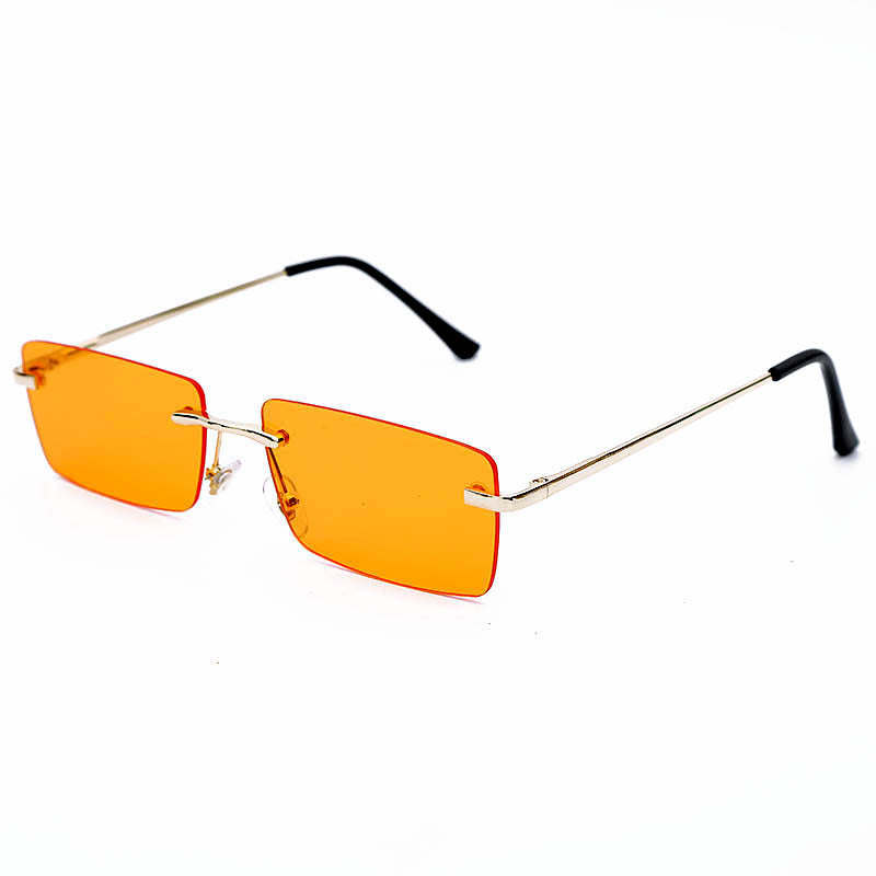 Small Rectangle Rimless Fashion Metal Square Sunglasses Summer Beach