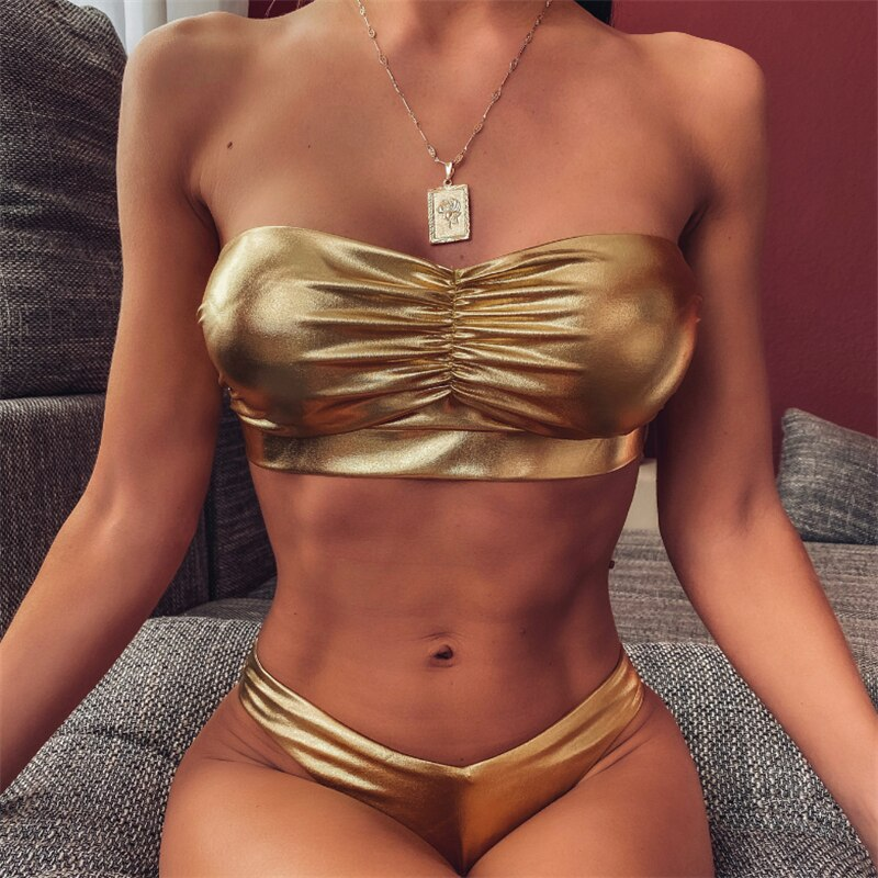 Sexy Fold PU Leather Bikini Swimsuit  Beachwear