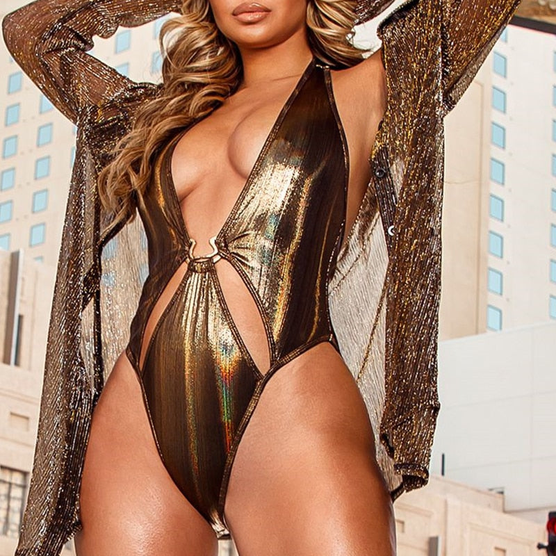 gold one piece swimsuit female Plunging neck swimwear