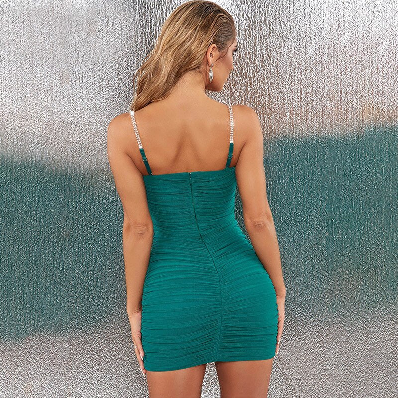 Spaghetti Strap Party Dress Elegant V neck Backless Sexy Dress