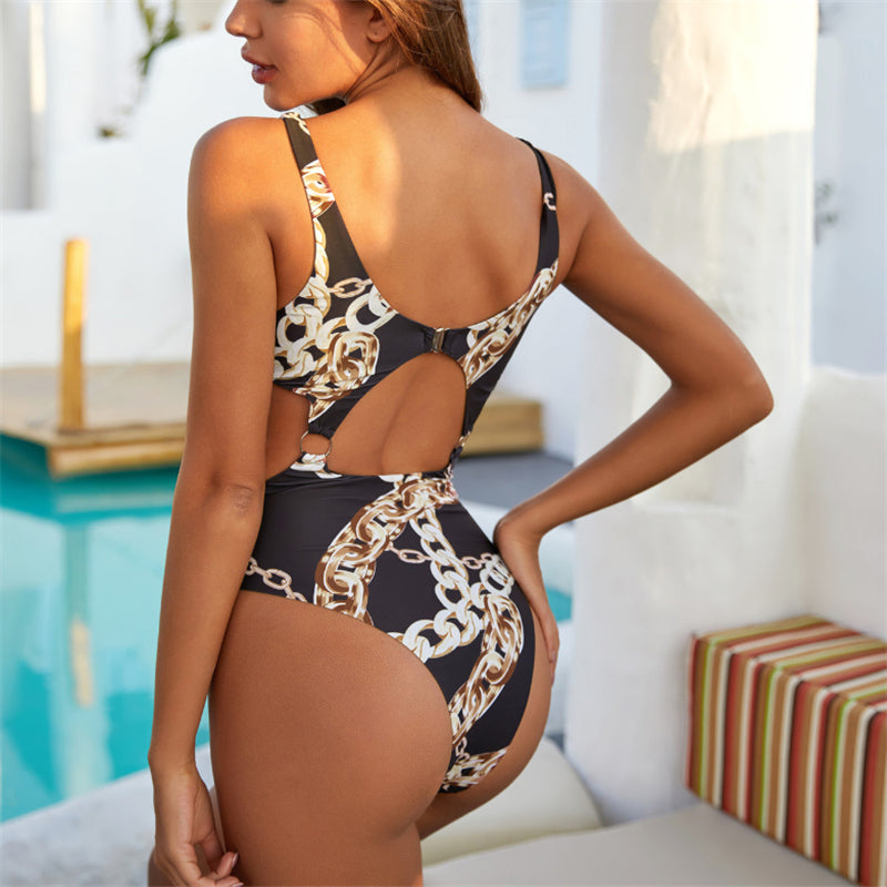 One Piece Swimsuit Women Hollow Out Bikin Swimwear Push Up Bathing Suit