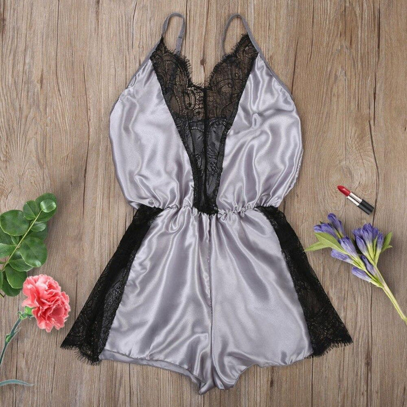 Sexy Women Satin Lace Hollow Out Bodysuit Deep V-neck Sleepwear