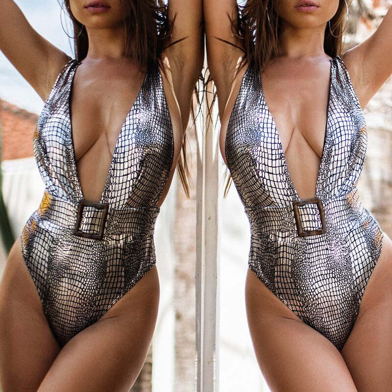 Snake bikinis Mujer Deep v-neck swimsuit female one piece suits