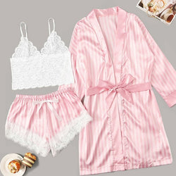 Plus Size Nighties Women Sleepwear Silk Home Wear Lace 3 Pieces