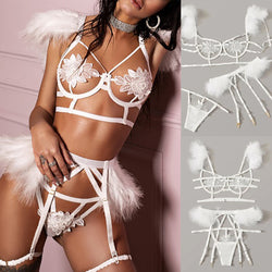 Fashion bra Lingerie Sexy Bra Set Sexy Exquisite Mesh Lingerie Bra+Garter+Briefs Set