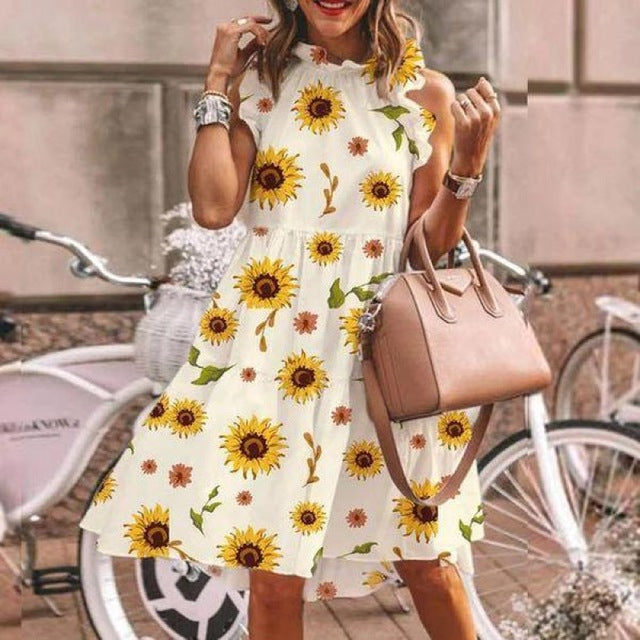 Sunflower Print Elegant Summer Dress Women O Neck Vintage Party Dress