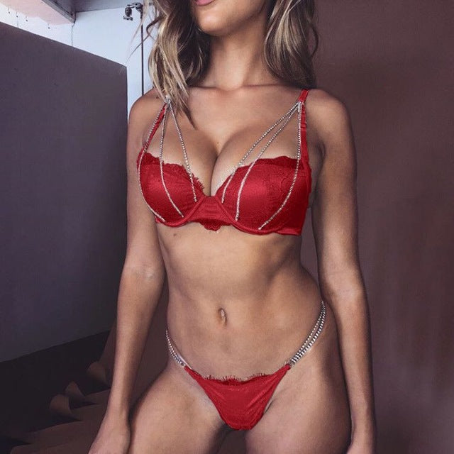 Shiny Sexy Underwear Set Women Lingerie Bra & Brief Sets Underwire Push Up Bralette and Panties