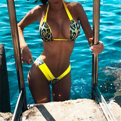 Sexy Halter Retro Floral Leoprad Print Hollow Bandage Biquini Bathing Suit Female Swimsuit High Wais