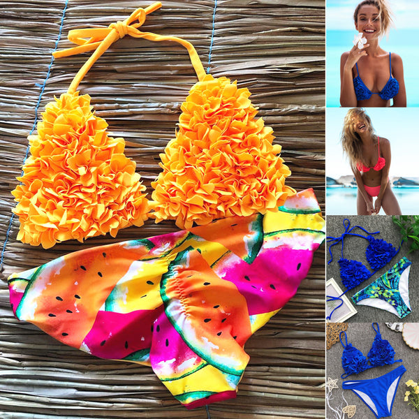 Brazilian Thong Bikini Push Up Swimwear High Waisted Bathing Suits Yellow 2 Piece Swimsuit
