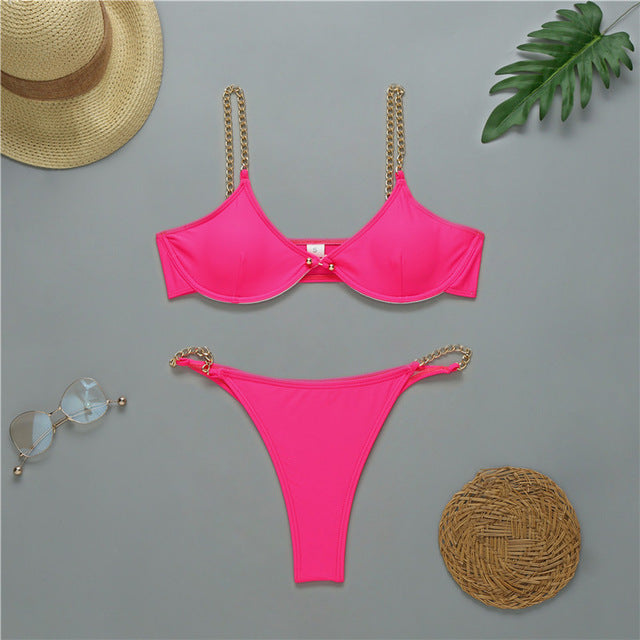 Sexy bikini Push up swimwear women High cut bodysuits one-piece swimsuit