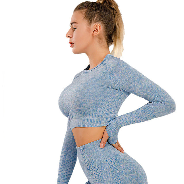 Long Sleeve Gym Yoga Sports Crop Top Women's Seamless T-shirt Fitness Woman Sport Tshirt Workout