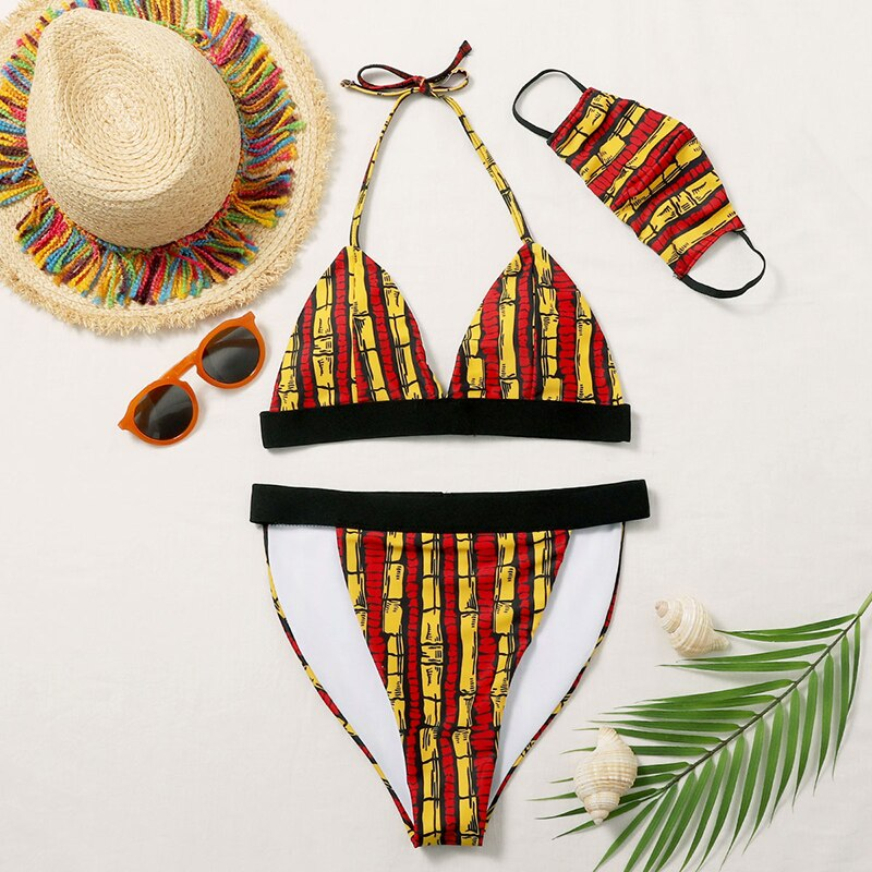 Bikini Set Women Swimwear 3 Piece Set Padded Backless Bandeau Swimsuit Biquini + Face Guard