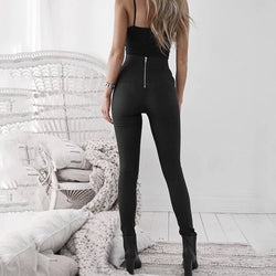 2020  Fashion Women Leather Zipper Harem Pants