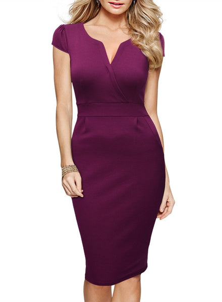 Women's Official V Neck Retro Short Sleeve Slim Business Bodycon Pencil Dress