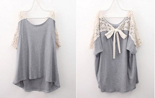Grey Hollow Out Lace Stitching Cotton Bat Sleeved Loose T-shirt