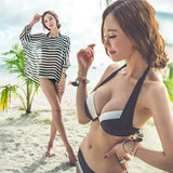 Women's Fashion Zebra Striped Swimsuit Hot Spring Steel Prop Gather Three-piece Swimwear