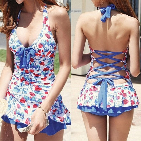Cute Halter Strawberry Print Bandage One-Piece Swimwear Swimsuit For Women