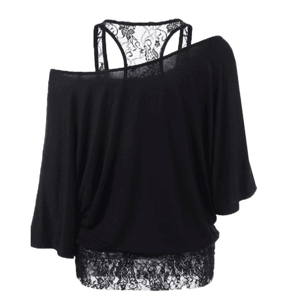 Womens Sexy Off Shoulder Plus Size Lace Stitching Loose Casual Bat Sleeve Tops Blouse Shirt