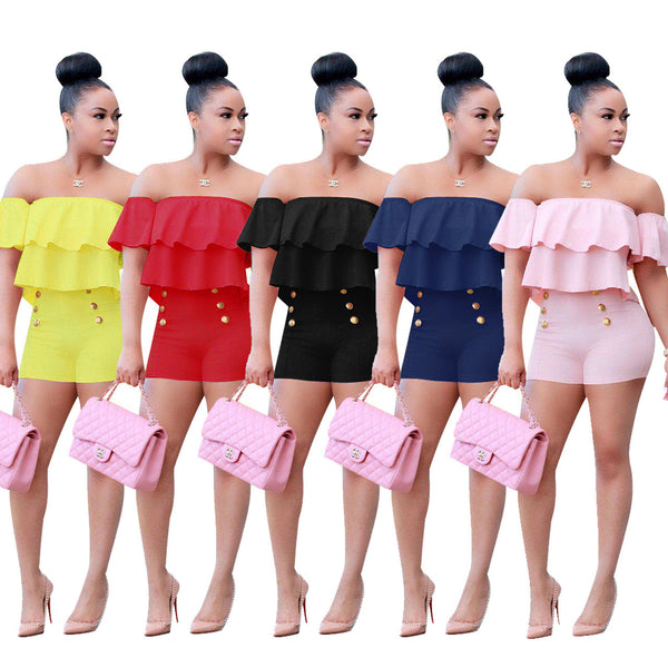 Women Sexy Strapless Off the Shoulder Flounced Jumpsuit Rompers