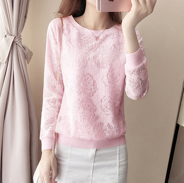 Women Fashion All-match Lace Hollow Round Neck Loose Bottoming T-shirt Blouse Tops